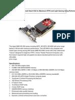 Amd Radeon Hd 6450 the Enonomic Small Sized Vga for Maximum Htpc and Light Gaming Using Performance