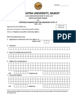 Application Form Ph. D. 2011