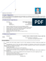 Cv for the Post of Payroll Accountant