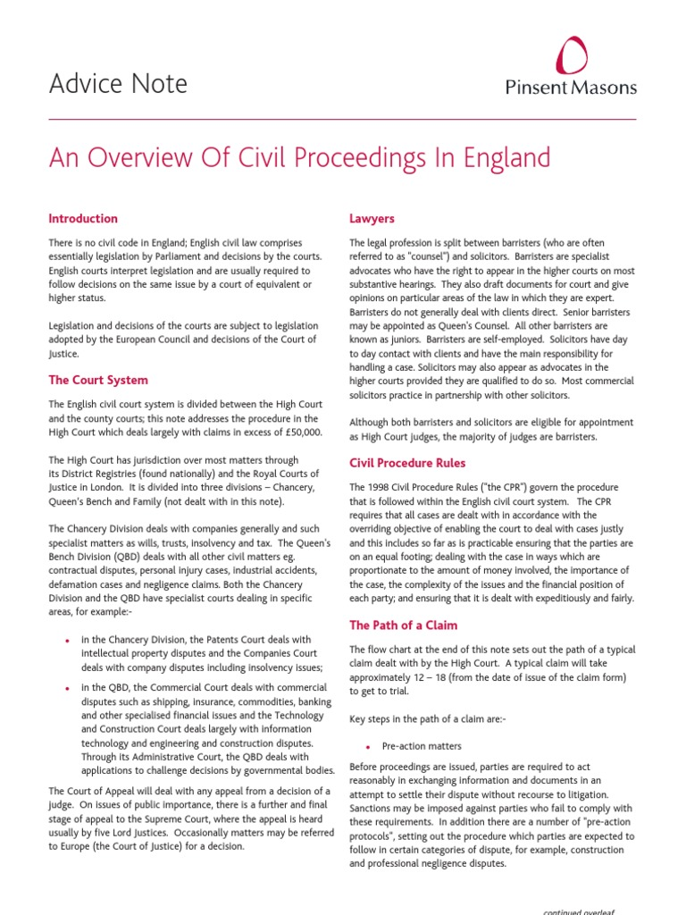 AnOverviewofCivilProceedingsinEngland[1] | Barrister | Costs In