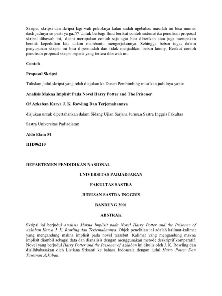 Judul Skripsi Analisis Novel Bahasa Inggris Kumpulan Berbagai Skripsi