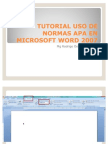 Tutorial Aplicacion normas APA en word Office 2007- Julio 2011