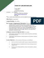 Overview of Lipid Metabolism