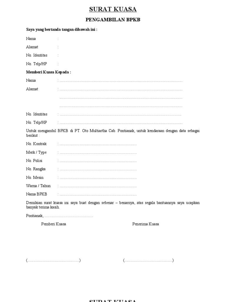 Contoh Surat Kuasa Pengambilan Bpkb Mobil Di Leasing Acc ...