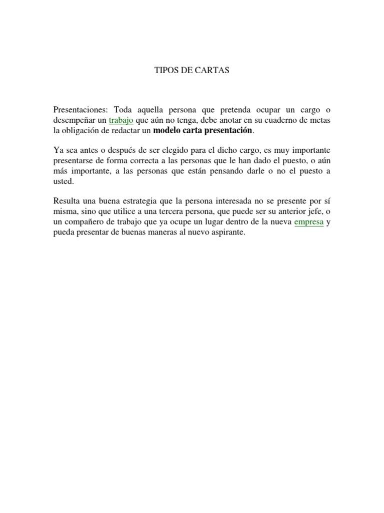 TIPOS DE CARTAS