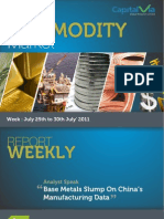Bullion Commodity Reports for the Week (25th - 29th July '11)