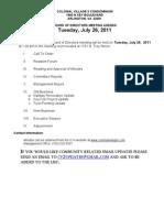CVII July 2011 Agenda