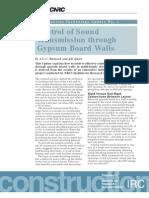 Control of Sound Transmission Through Gypsum Board Walls