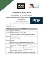 """Programa Seminario Internacional """"Los rostros de la democracia"""""""