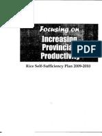 Rice Self- Sufficiency Plan 2009- 2010