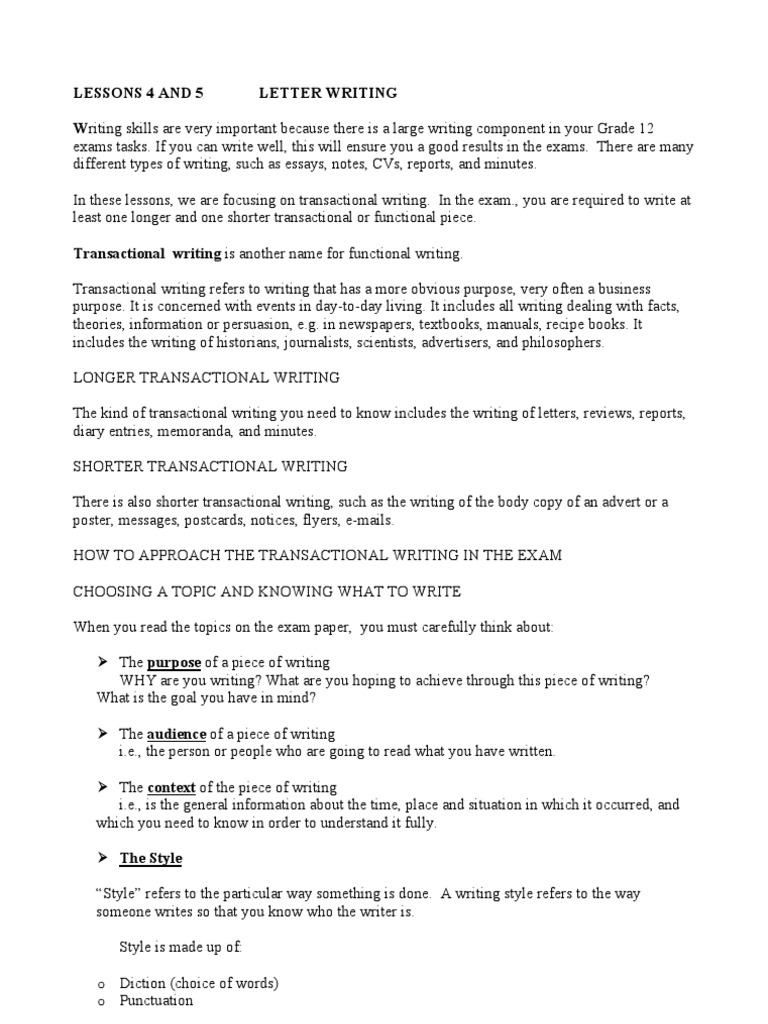 lesson 4 and 5 transactional writing letters