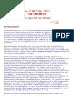 La Ley Natural en El Policraticus