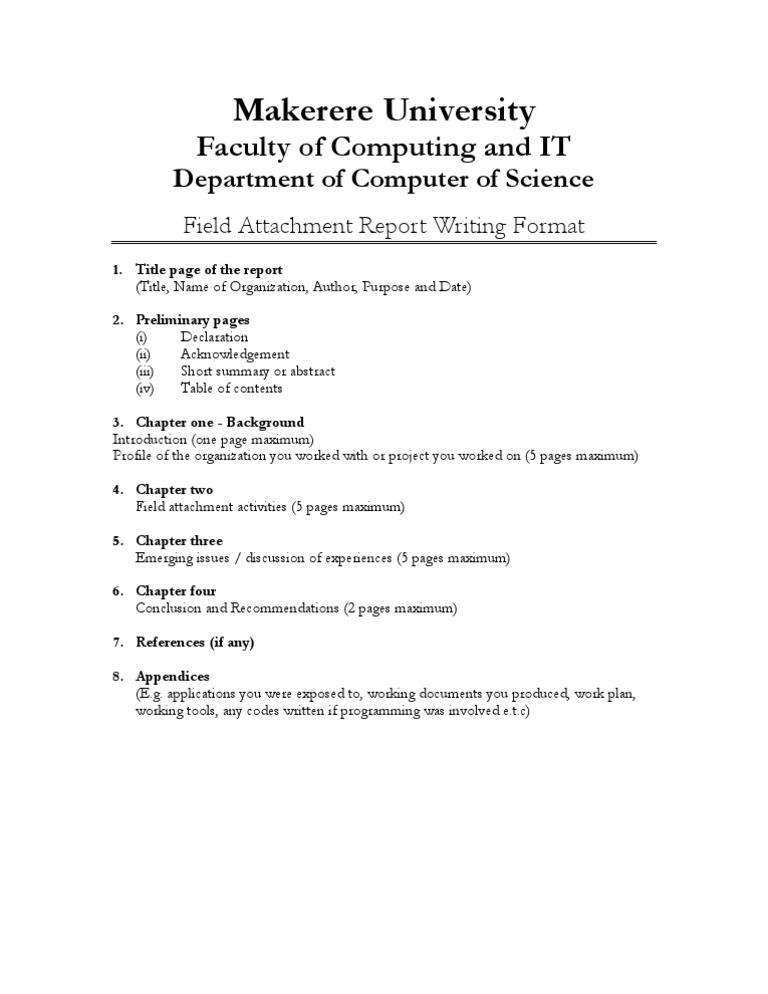 Field Attachment Report Format
