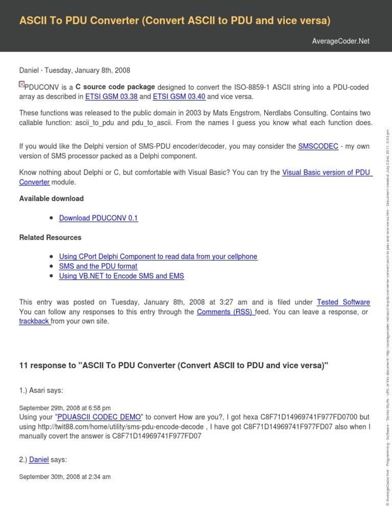 Ascii to Pdu Converter Convert Ascii to Pdu and Vice Versa | Codec