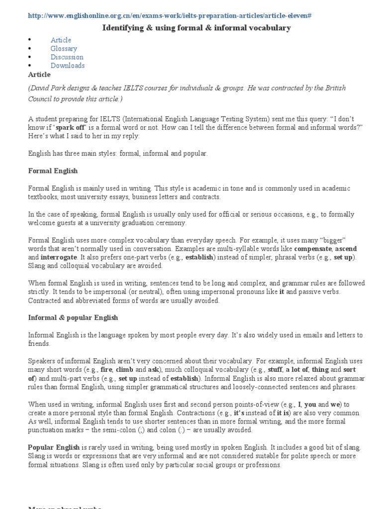 Formal english essay writing