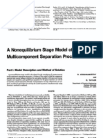 A Non Equilibrium Stage Model of Multi Component Separation Process