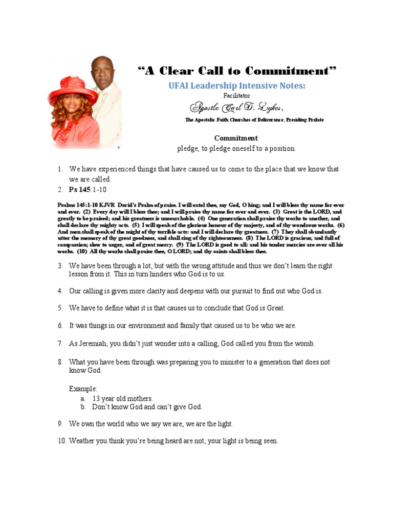 A Clear Call to Commitment Notes - Apostle Carl D  Lykes, Sr