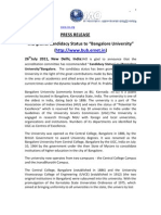 PRESS RELEASE 26-07-2011 IAO Grants Candidacy Status to Bangalore University