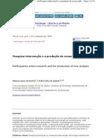 Pesquisa-Intervenção Produção de novas análises