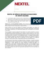 NEXTEL DE MÉXICO RECHAZA ACUSACIONES DE GRUPO SALINAS 101110