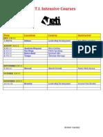 V.E.T.I. Intensives Course List