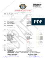East Midlands Speakers Programme for 1st August 2011