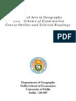 MA Geography Syllabus(University of Delhi)