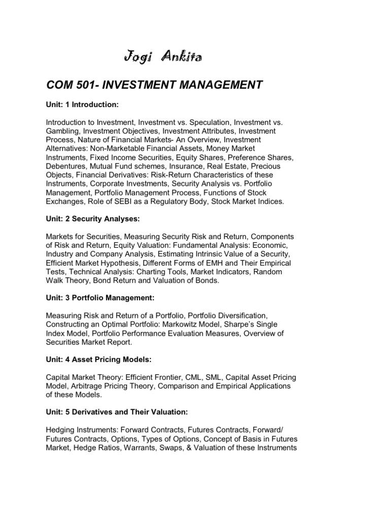 Jogi Ankita | Investment Management | Corporate Governance