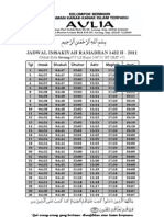 Jadwal Imsakiyah Wilayah Serang