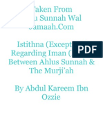 Istithna (Exception) Regarding Iman (Faith) Between Ahlus Sunnah & The Murji'ah