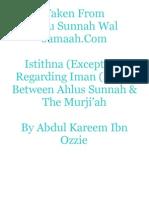 Istithna (Exception) Regarding Iman (Faith) Between Ahlus Sunnah & The Murji'ah