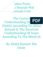 The Correct Understanding Of Iman (Faith) According To Ahlus Sunnah & The Incorrect Understanding Of Iman According To The Murji'ah