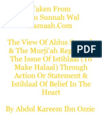 The View Of Ahlus Sunnah & The Murji'ah Regarding The Issue Of Istihlaal (To Make Halaal) Through Action Or Statement & Istihlaal Of Belief In The Heart