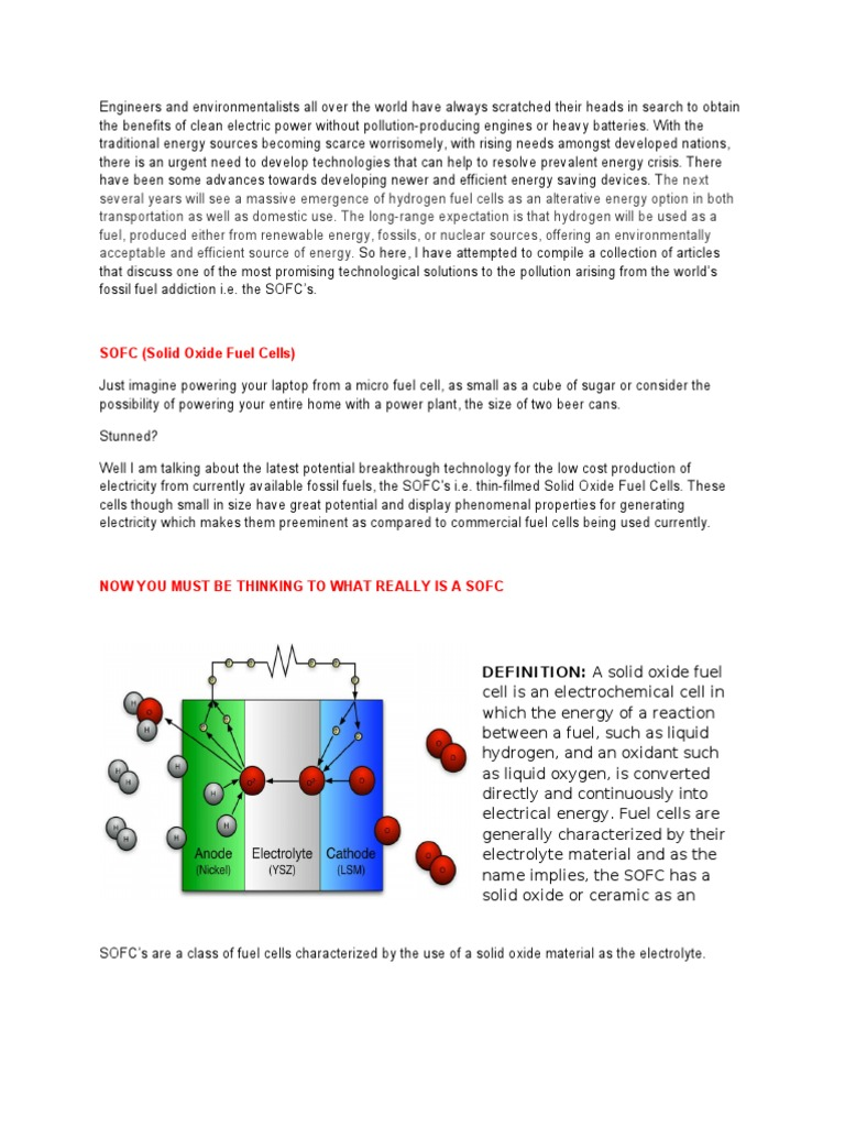 article on sofc | solid oxide fuel cell | fuel cell