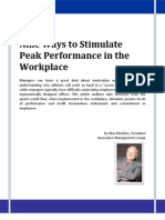 Nine Ways to Stimulate Peak Performance in the Workplace