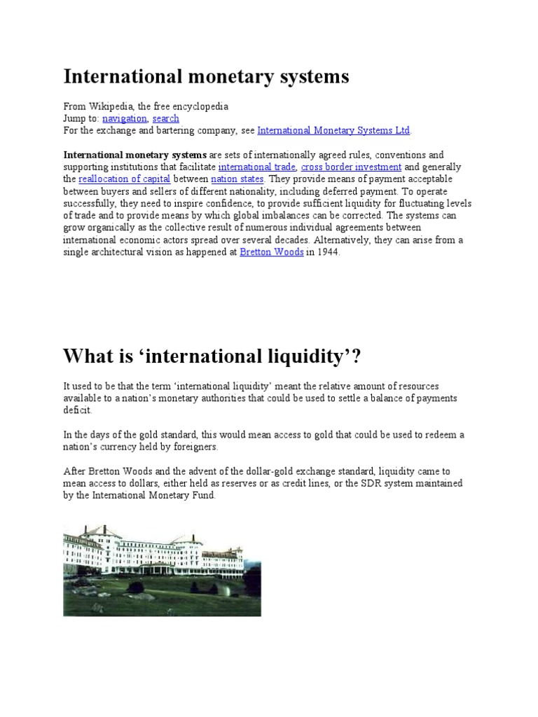 ITF | Bretton Woods System | Special Drawing Rights