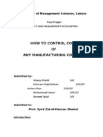 How to Control Cost of Manufacturing Concern
