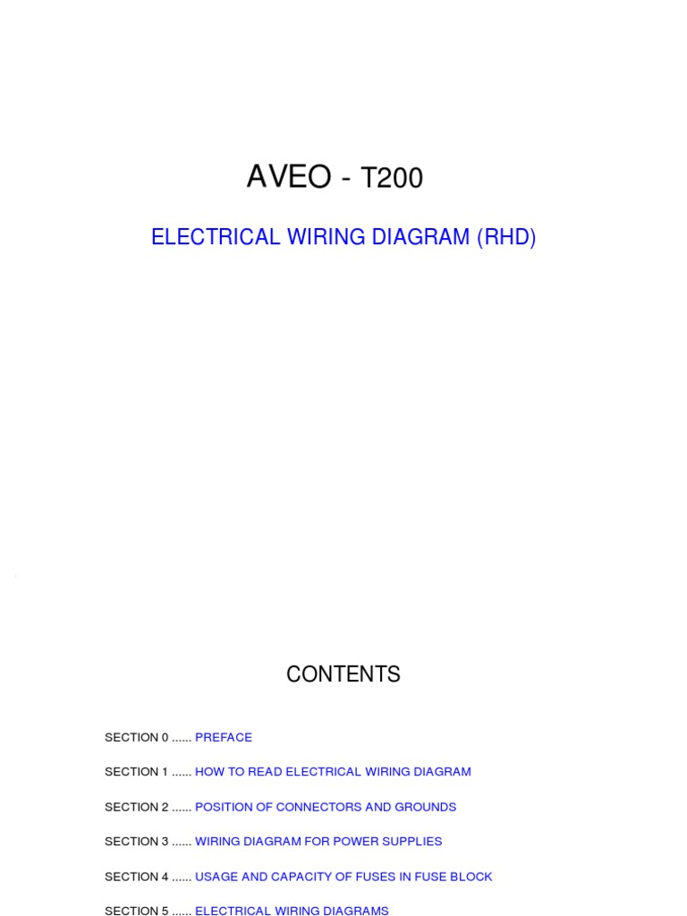AVEO Electrical Wiring Diagram - Chevy aveo wiring schematic