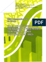 Rules and Regulation for Inssuance of Free Patent Residential