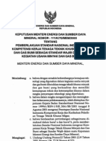 KEPUTUSAN MENTERI ENERGI DAN SUMBER DAYA MINERAL NOMOR 111/K/70/MEM/2003