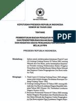 KEPUTUSAN PRESIDEN REPUBLIK INDONESIA NOMOR 86 TAHUN 2002
