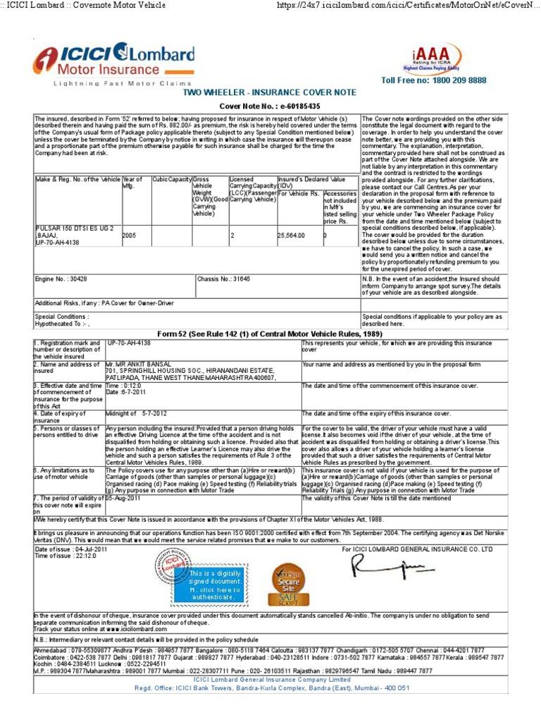 Icici Lombard Motor Insurance Claim Status