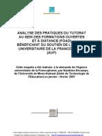 Rapport Pratiques Tutorat UTE AUF