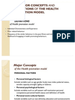The Major Concepts and Definitions of the Health- Nola Pender