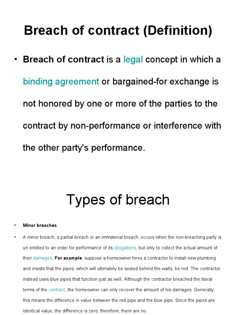breach of contract   breach of contract   damages