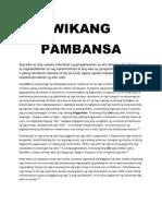 sanaysay tungkol sa wikang filipino 2013