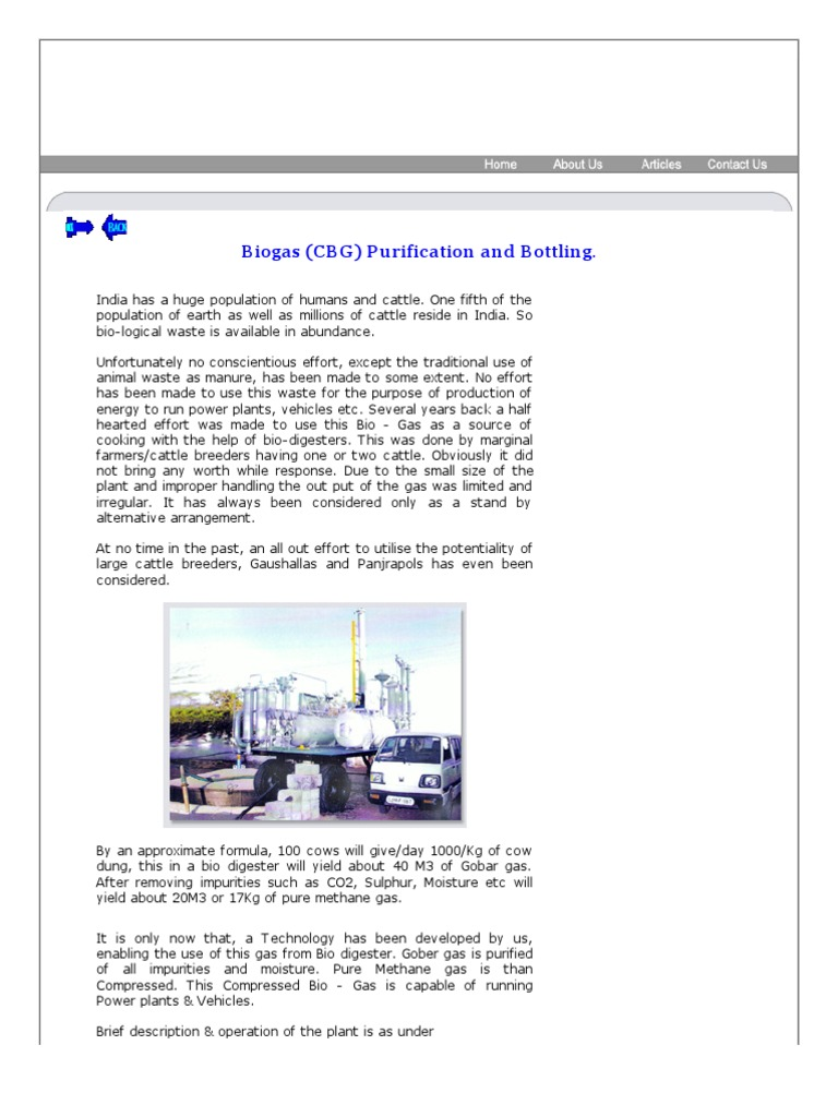C B G (Compressed BioGas) Biogas Purification and Bottling