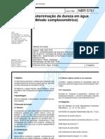NBR 5761 - Determinacao Da Dureza Em Agua (Metodo Complexometrico