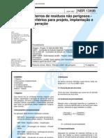 NBR 13896 - Aterros de Residuos Nao Perigosos - Criterios Para Projeto Implantacao e Operacao - Procedimento
