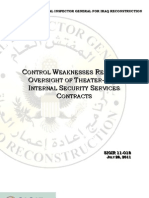 SIGIR-Control Weaknesses Remain In Oversight Of Theater-wide Internal Security Services Contracts, July 28, 2011